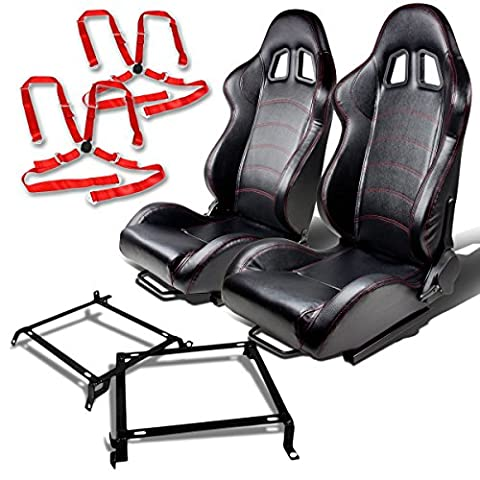 Nissan 240SX Silvia S13 S14 Pair of T1 PVC Faux Leather Racing Seats (Black)+Seat Bracket+4-Point Camlock Red - 89 Passenger Side Bracket