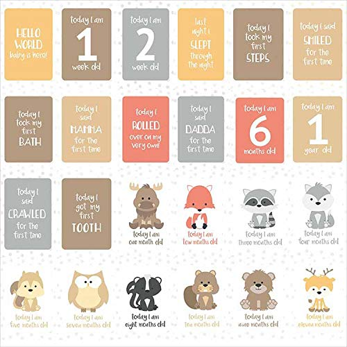 Abnaok Baby Milestone Cards Great Baby Shower Gift 24pcs Unisex Babys Important Milestones Record Cards