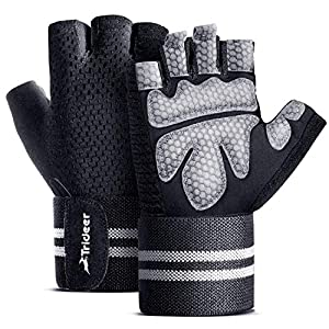 TriDeer Workout Weight Lifting Gloves for Women Men with Wrist Straps, Breathable Fingerless Gym Exercise Gloves with…
