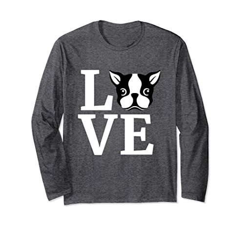 Dog Lover Long Sleeve (Unisex I Love My Boston Terrier Long Sleeve T-Shirt Dog Lovers Gift Small Dark Heather)