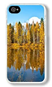 Beautiful Autumn Road Custom iPhone 4S Case Back Cover, Snap-on Shell Case Polycarbonate PC Plastic Hard Case Transparent