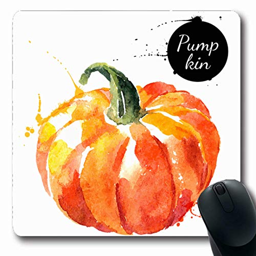 Ahawoso Mousepads White Green Vegetable Pumpkin Watercolor Painting On Food Drink Nature Hand Sketch Drawn Autumn Fresh Oblong Shape 7.9 x 9.5 Inches Non-Slip Gaming Mouse Pad Rubber Oblong Mat