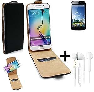 TOP SET: Caso Smartphone para Kazam Thunder 2 5.0 cubierta del estilo del tirón 360°, negro + Auriculares, cubierta del tirón - K-S-Trade   Funda Universal Caso Monedero cubierta del tirón Monedero Monedero