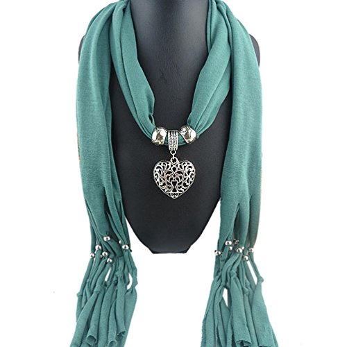Women Winter Cotton Blend Lady Tassel Warm Scarf with Heart Gemstone Necklace (Green) (Life Size Grinch)
