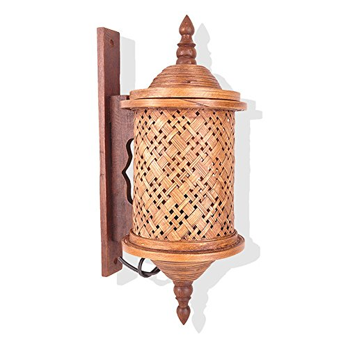 Southeast Asia home Thai bamboo creative wall lamp wooden bamboo environmental protection corridor indoor wall lamp W14 H37 (cm) by GZEDG
