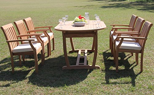 TeakStation 6 Seater Grade-A Teak Wood 7 Pc Dining Set: 94