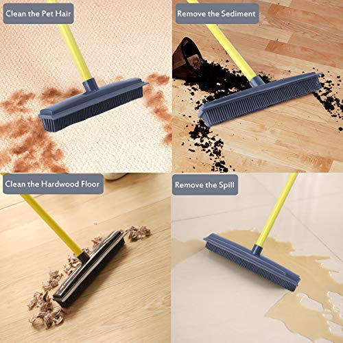 Push Broom - Soft Bristle 59'' Rubber Broom Carpet Sweeper with Squeegee Adjustable Long Handle, Removal Pet Human Hair by NZQXJXZ (Image #3)