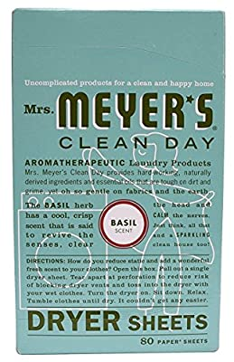 Mrs. Meyers Clean Day Dryer Sheets, Basil