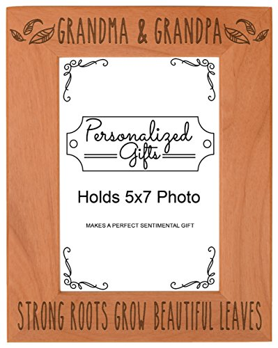 First Time Grandparents Gifts Grandma Grandpa Strong Roots Grow Beautiful Leaves Birthday Gifts Grandma Natural Wood Engraved 5x7 Portrait Picture Frame Wood