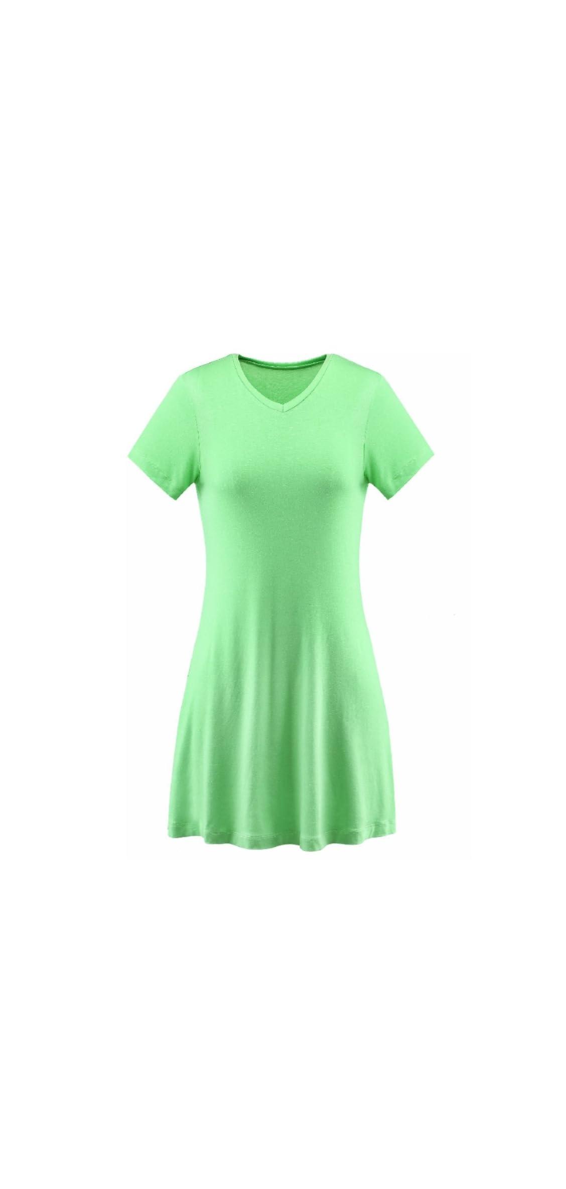 Womens V-neck Tunic Top Mini T-shirt Dress