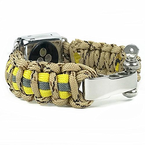 Apple Watch Series 3 Band - Replacement Survival 550 Paracord Band for Apple Watch Series 3/2/1- 8 inch (Firefighter Tan Camo, For 38mm) (Tan Camo)
