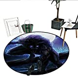 """Fantasy World Round Rug Kid Carpet Surreal Werewolf with Electric Eyes in Full Moon Transformation Folkloric Living Dinning Room and Bedroom Rugs (32"""" Diameter) Purple Blue"""