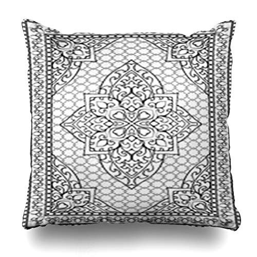 Alfredon Throw Pillow Covers Medieval Persian Oriental Abstract Carpet Any Ornamental Symmetry Pattern Filigree Details Damask Pillowcase Square Size 16 x 16 Inches Home Decor Cushion Cases