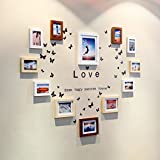 Home@Wall photo frame Solid Wood Photo Wall + Love Wall Stickers Photo Wall Photo Frame Fashion Creative Combination Wall Living Room Bedroom Home (Color : A)