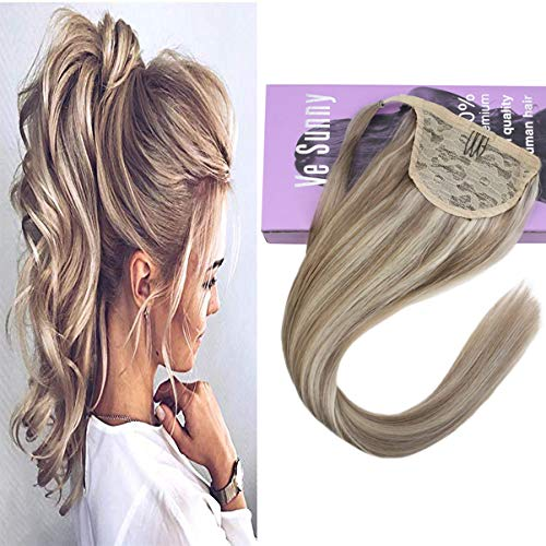 - VeSunny Dirty Blonde Highlights Platinum Blonde Ponytail Extension Remy Human Hair Clip on Extensions Wrap Around Pony Tail Straight Hairpiece 14inch 80G/Set