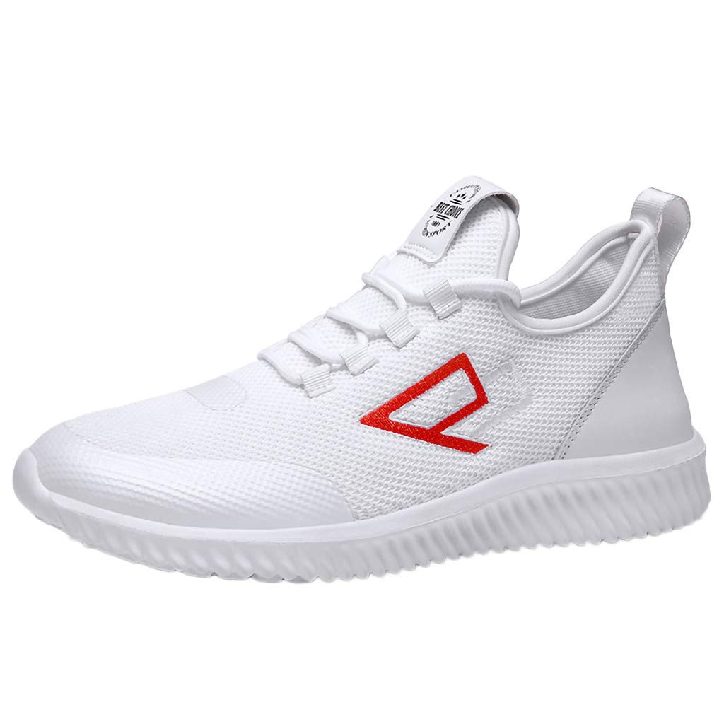 Men's Wear-Resistant Breathable Lightweight Outdoor Workout Solid Color Woven Sneakers Running Shoes Under 25