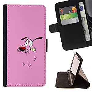 BullDog Case - FOR/LG OPTIMUS L90 / - / dog pink face cartoon character animation /- Monedero de cuero de la PU Llevar cubierta de la caja con el ID Credit Card Slots Flip funda de cuer