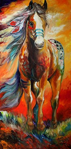 (Imagekind Wall Art Print entitled HIGH PLAINS WAR PONY by Marcia Baldwin | 15 x 32)