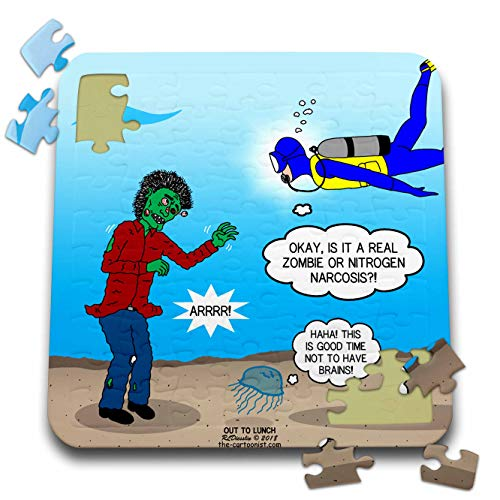 (3dRose Rich Diesslins Funny Out to Lunch Cartoons - Underwater Zombie or Scuba Diver Nitrogen Narcosis - 10x10 Inch Puzzle)