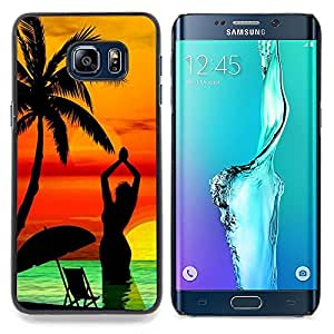 Neon Island Paradise Sunset Caja protectora de pl??stico duro Dise?¡Àado King Case For Samsung Galaxy S6 Edge Plus