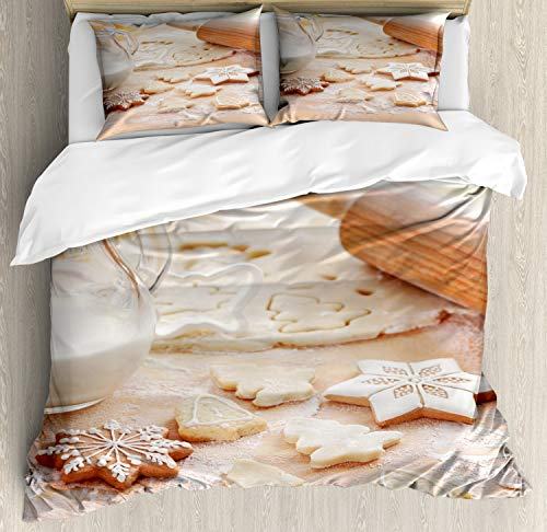 Ambesonne Cookie Duvet Cover Set Queen Size, Baking Ingredients Scattered in Flour Gingerbread Milk in a Jar Christmas Vibes, Decorative 3 Piece Bedding Set with 2 Pillow Shams, Multicolor - Ingredients House Gingerbread