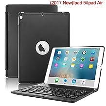 Nuevo iPad 2017Funda Teclado, 7colores LED retroiluminada Bluetooth iPad teclado Funda para iPad 5a generación y ipad Air, Negro