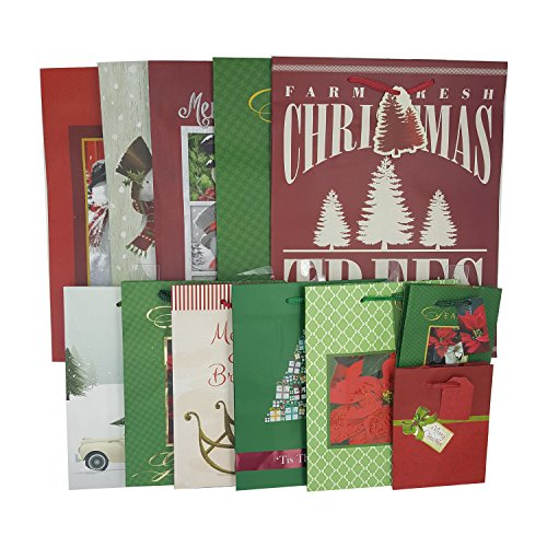 Paper Christmas Gift Bag Assortment/ Christmas/ Holiday wrap - Pack of 12 Assorted (Vintage - Ideas Car Gift Christmas Care
