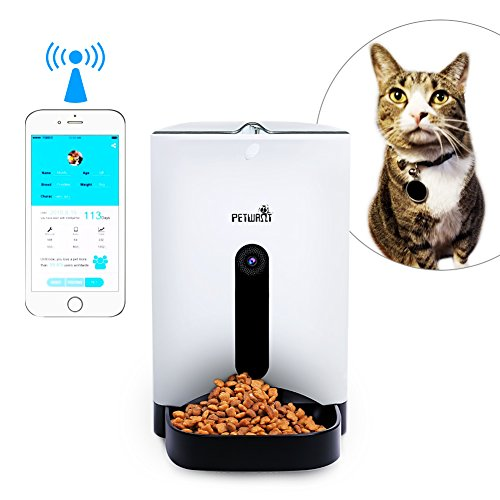 Petwant Automatic Pet Feeder for Dogs & Cats, SmartFeeder with 120-degree Wide-angle HD Camera and Voice Interaction, Real-time Sharing, Controlled by Iphone, Andriod or Other Smart Devices by Petwant