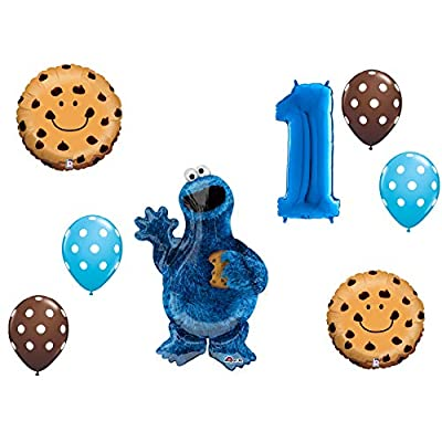 LoonBalloon COOKIE MONSTER Choc Chip Dots First 1st Birthday Party Mylar & Latex BALLOON Set by LoonBalloon: Toys & Games