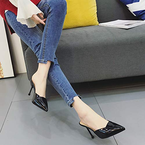Commuting Shoes 9Cm Mouth Black Half Bag Banquet Spike Fine Shallow Sandals Heels Female Sexy KPHY Heels Summer High dzRwdqa
