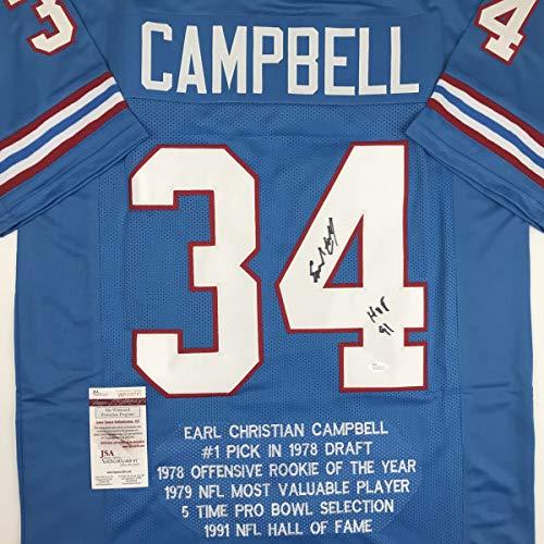 Autographed/Signed Earl Campbell HOF 91 Houston Blue Stat Football Jersey JSA COA