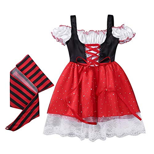 YiZYiF Little Pirate Costume Baby Girl Princess Bubble Sleeves Pirates Dress with Headscarf and Belt Set (2-3 Years, Black&Red) -