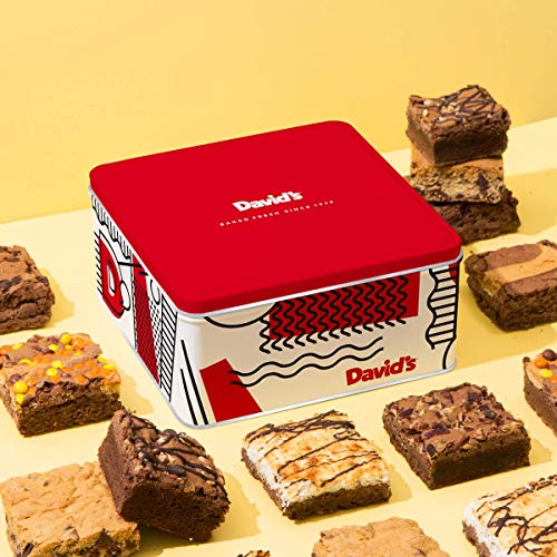 - David's Cookies Assorted Brownies Tin - Delicious, Fresh Baked Brownie Snacks - Gourmet Pure Chocolate Fudge Brownie Slices - Yummy Flavors For Every Special Occasion - 12 Pcs