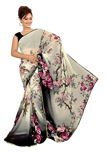 Women's Faux Georgette Floral Print Saree White/Black 6.30 m With Blouse Piece by Kalaa Varsha (Print Saree)