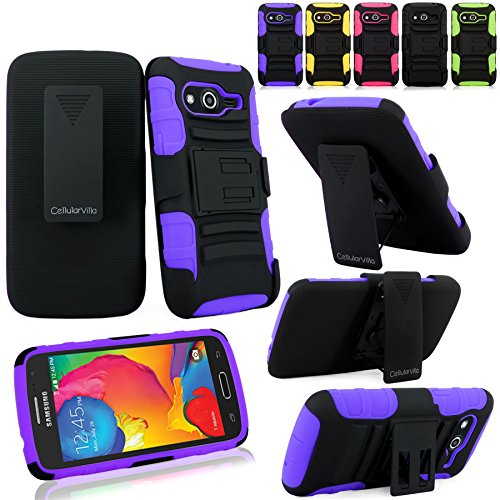 Samsung Galaxy Avant Case - Cellularvilla Hard Soft Dual Layer Hybrid Armor Holster Kickstand Case with Locking Belt Swivel Clip Cover for Samsung Galaxy Avant G386 (T-Mobile) (Purple Black)