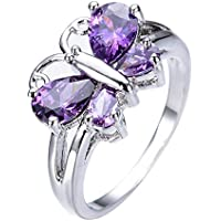 PR Jewelry Butterfly Shaped Purple Amethyst Wedding Ring Womens 10KT White Gold (9)