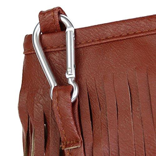Bag Bag Leather Stylish Tassel FUNOC Messenger Brown Womens Shoulder Crossbody 6qIx48wv