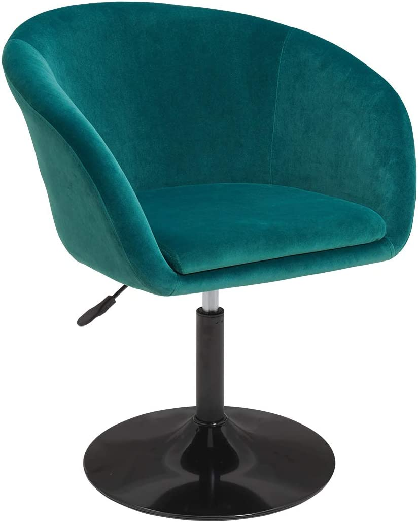Duhome Jumbo Size Velvet Contemporary Salon Stool with Wheels Home Office Chair Round Swivel Accent Chair Tufted Adjustable (Atrovirens Velvet)