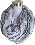 MueYan Women\'s Long Scarf White Burgundy Navy Music Note Sheet Music Piano Notes Script Print Scarves Infinity Scarf (Infinity Scarf, White and Blue)