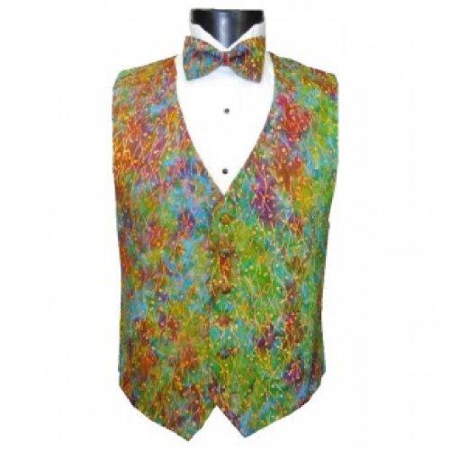 Mardi Gras Batik Tuxedo Vest and Bow Tie Size Large