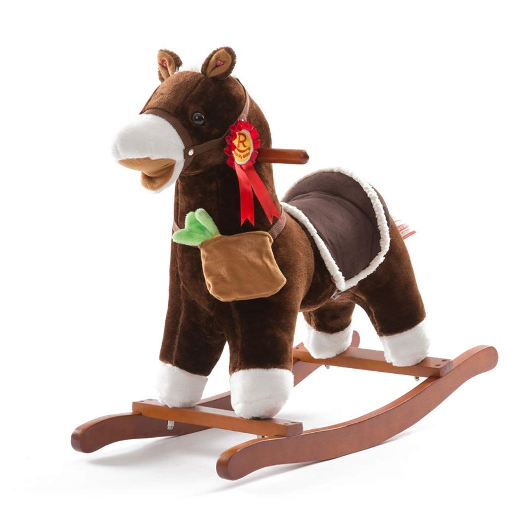 ロッキング 馬 シェイク 赤ちゃん 子供用 木製 馬 無垢材 音楽 赤ちゃんのおもちゃ 誕生日プレゼント リアルな形 耐荷重 50kg 1-6歳 ブラウン  ブラウン B07LC5Y5GB