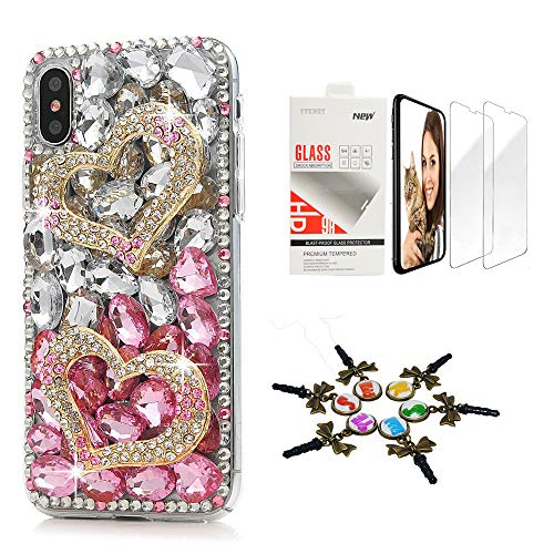 STENES iPhone Xs Max Case - Stylish - 3D Handmade [Sparkle Series] Bling Sweet Heart Design Cover Compatible with iPhone Xs Max 6.5 Inch with Screen Protector [2 Pack] - White&Pink