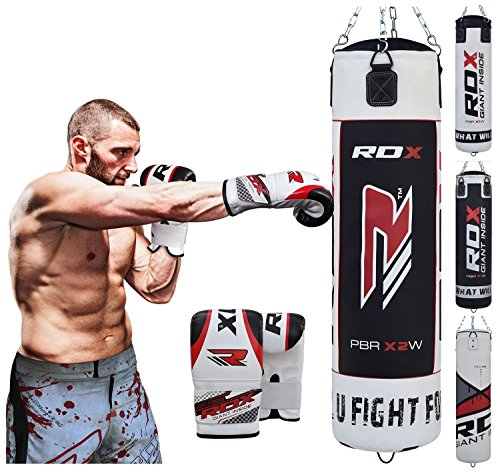 RDX Punch Bag UNFILLED Set Kick Boxing Heavy MMA Training with Gloves Punching Mitts Hanging Chain Ceiling Hook Muay Thai Martial Arts 4FT 5FT – DiZiSports Store