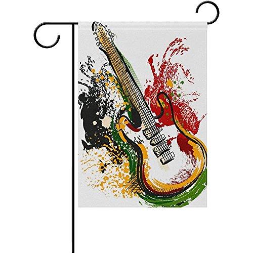 Electric Guitar Grunge Style Art Garden Flag Decorative Flag