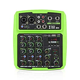 XTUGA B4/B6 Colorful Audio Mixer 4/6 Channels Multifunctional Mini Musical Mixer DJ Mixing Console Built-in Sound Card…