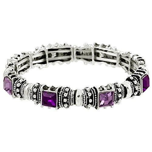 Falari Vintage Acrylic Crystal Antique Silver Stretch Bracelet Amethyst & Light Purple -