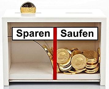 Lustige Spardose Sparen Saufen Aus Holz In Weiss Geld Rutscht Nur