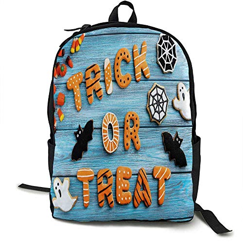 Halloween Outdoor 3 day package Fresh Trick or Treat Gingerbread Cookies on Blue Wooden Table Spider Web Ghost Suitable for school, outdoor sports 16.5 x 12.5 x 5.5 Inch Multicolor -