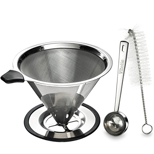 Yitelle Stainless Steel Pour Over Coffee Cone Dripper with Cup Stand and Scooping Spoon Plus Cleaning Brush by Yitelle (Image #1)