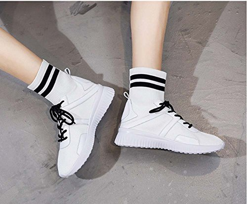 To Canvas Help Shoes Elastic Socks Black Shoes Summer High UK6 5 Casual White Socks New Sports Women Sneakers Tide UK3 07wExq87